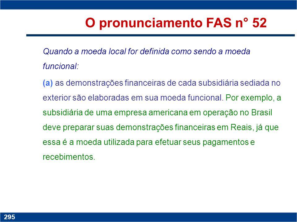 Copyright © 2006 by Pearson Education 15-294 294 O pronunciamento FAS n° 52 OFAS nº 52 adotou o conceito situacional (localização da empresa que terá
