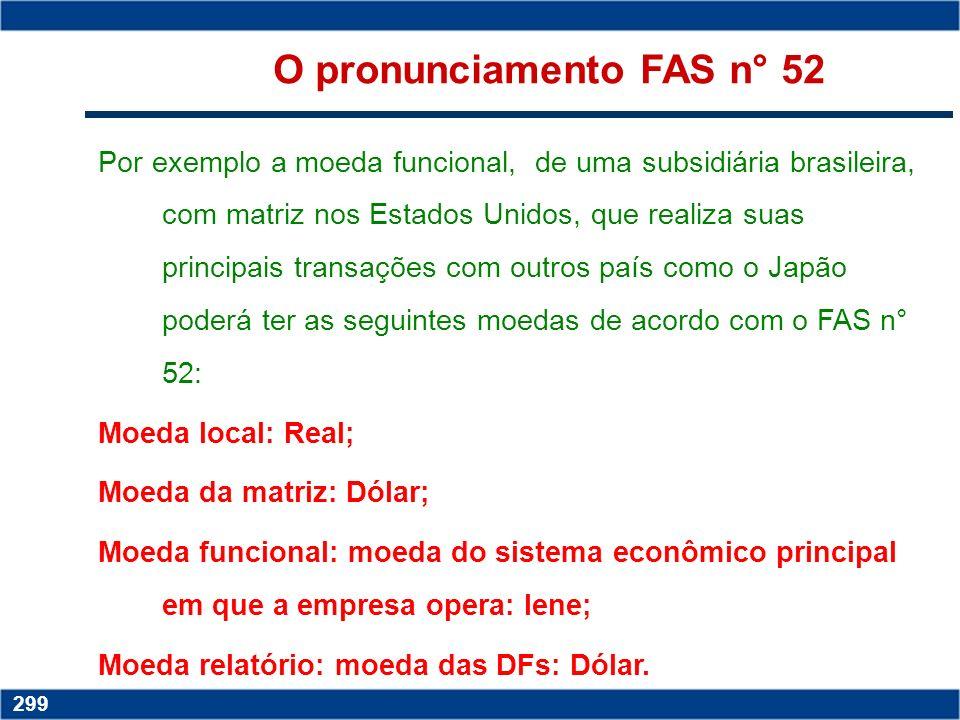 Copyright © 2006 by Pearson Education 15-298 298 O pronunciamento FAS n° 52 (d) Os ganhos e perdas na conversão devem ser acumulados e incluídos numa