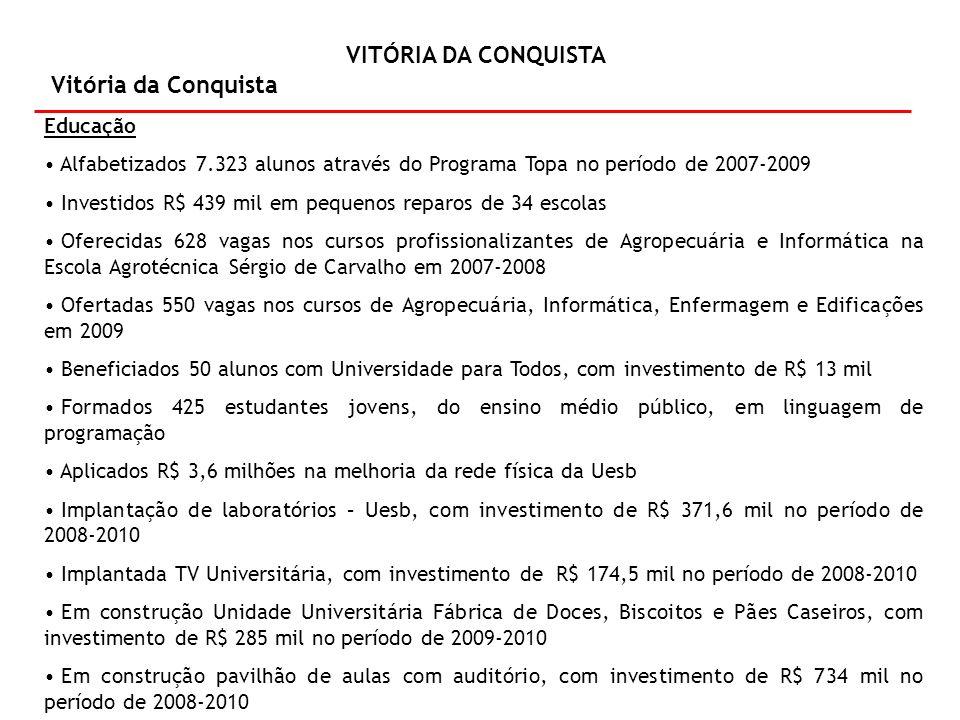 VITÓRIA DA CONQUISTA Vitória da Conquista Educação – (continuação) Recuperado o Colégio Estadual Modelo Luís Eduardo Magalhães, com investimento de R$ 106 mil no período de 2008-2010 Recuperada a Escola Dirlene Mendonça, investidos R$ 147,5 mil no período de 2008-2010 Água para Todos Perfurados 16 poços, com investimento de R$ 273,8 mil Construídos quatro sistemas de abastecimentos de água, beneficiando 300 pessoas, com investimento de R$ 363,3 mil Ampliado um sistema de abastecimento de água, beneficiando 61 pessoas Construídas 227 cisternas, beneficiando 761 pessoas, com investimento de R$ 460,7 mil Realizadas 54 melhorias sanitárias domiciliares, beneficiando 183 pessoas, com investimento de R$ 125,7 mil Energia Realizadas 3.631 ligações domiciliares pelo Programa Luz para Todos, em parceria com o Governo Federal