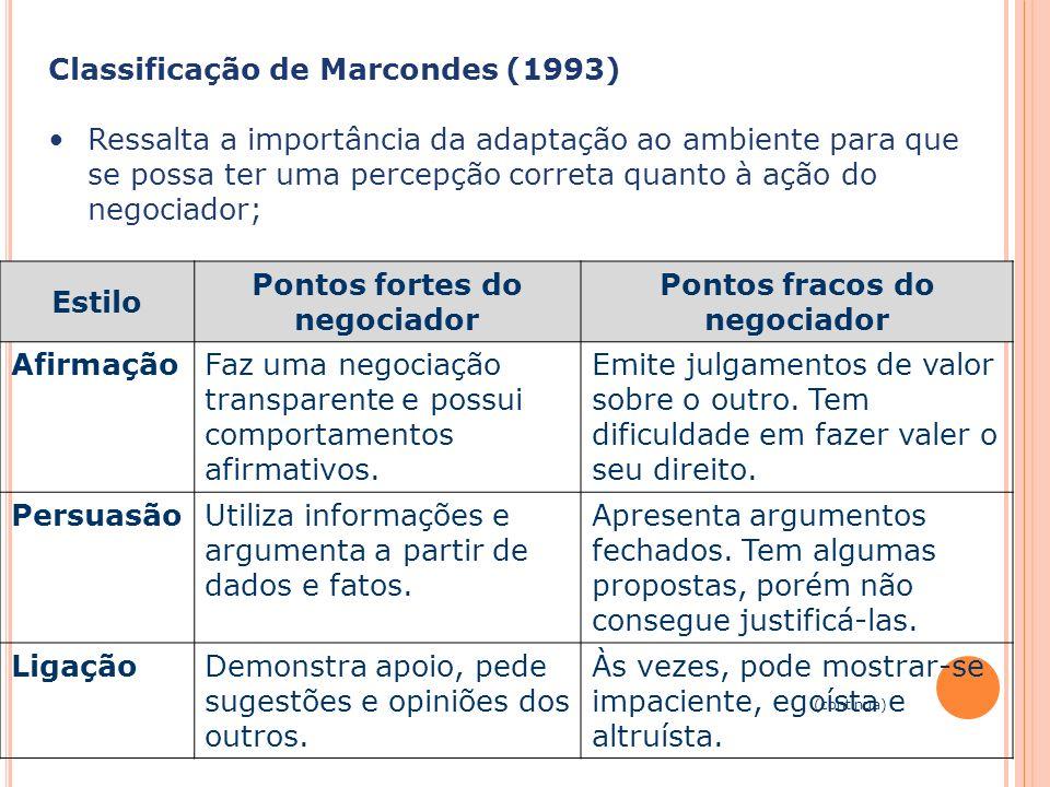 Capa da Obra Classificação de Marcondes (1993) Ressalta a importância da adaptação ao ambiente para que se possa ter uma percepção correta quanto à aç