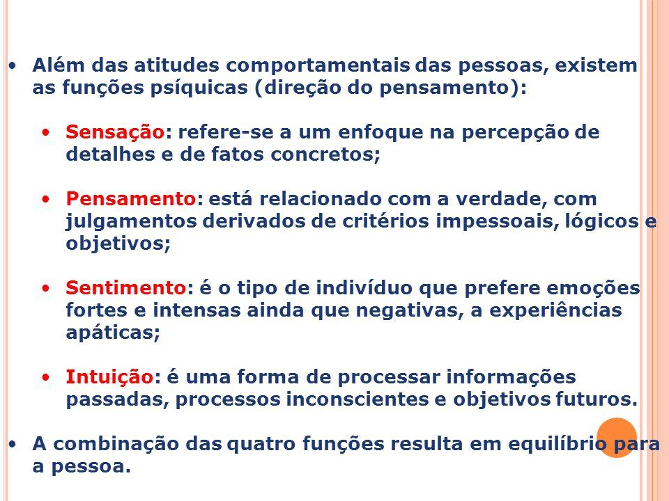 Capa da Obra Além das atitudes comportamentais das pessoas, existem as funções psíquicas (direção do pensamento): Sensação: refere-se a um enfoque na