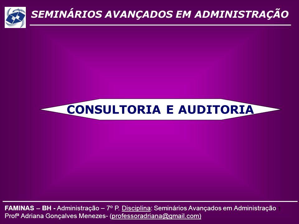 1 SEMINÁRIOS AVANÇADOS EM ADMINISTRAÇÃO FAMINAS – BH - Administração – 7º P. Disciplina: Seminários Avançados em Administração Profª Adriana Gonçalves