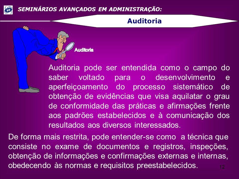 12 SEMINÁRIOS AVANÇADOS EM ADMINISTRAÇÃO: Auditoria Auditoria pode ser entendida como o campo do saber voltado para o desenvolvimento e aperfeiçoament