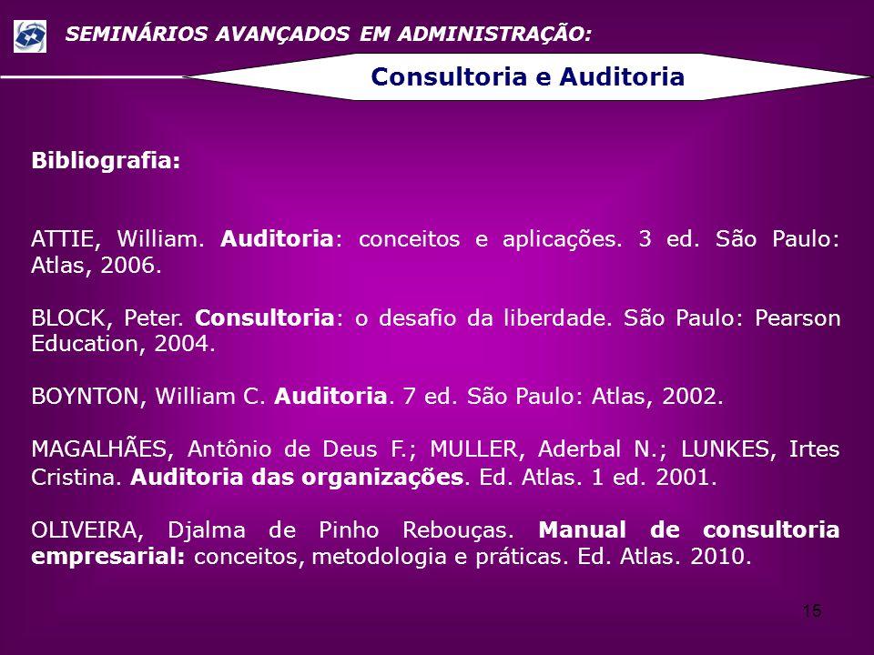15 SEMINÁRIOS AVANÇADOS EM ADMINISTRAÇÃO: Consultoria e Auditoria Bibliografia: ATTIE, William. Auditoria: conceitos e aplicações. 3 ed. São Paulo: At