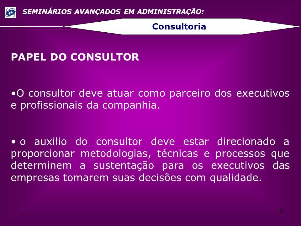 3 SEMINÁRIOS AVANÇADOS EM ADMINISTRAÇÃO: Consultoria PAPEL DO CONSULTOR O consultor deve atuar como parceiro dos executivos e profissionais da companh