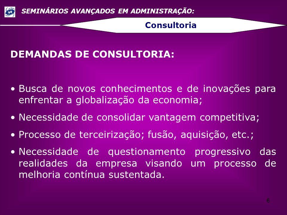 7 SEMINÁRIOS AVANÇADOS EM ADMINISTRAÇÃO: Consultoria PRODUTOS DA CONSULTORIA: A especialidade que está sendo oferecida: Planejamento Estratégico, Gestão de Processos, Gestão de Projetos, Estrutura Organizacional, Reengenharia, Sistemas de Informações, Pesquisa de Mercado, Certificações de Qualidade (ISO), etc..