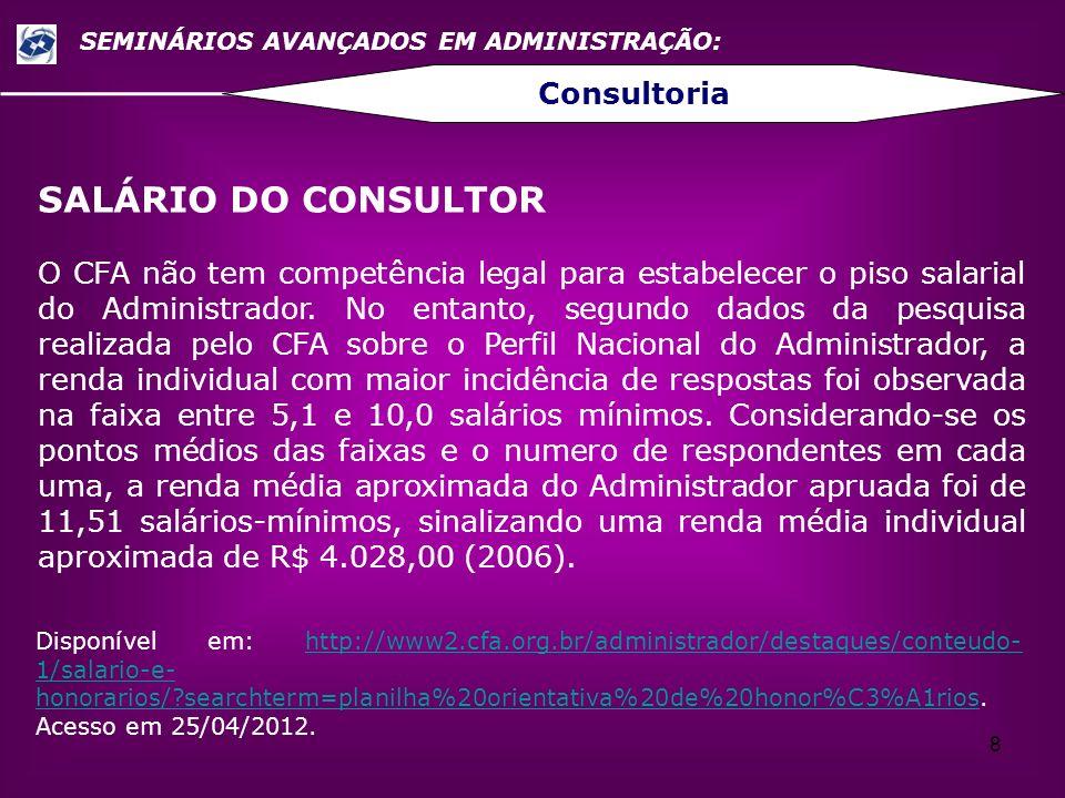 8 SEMINÁRIOS AVANÇADOS EM ADMINISTRAÇÃO: Consultoria SALÁRIO DO CONSULTOR O CFA não tem competência legal para estabelecer o piso salarial do Administ