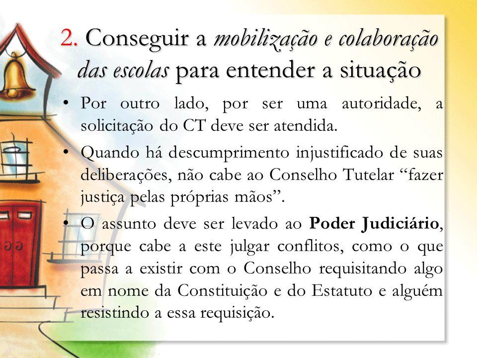 2. Conseguir a mobilização e colaboração das escolas para entender a situação Por outro lado, por ser uma autoridade, a solicitação do CT deve ser ate