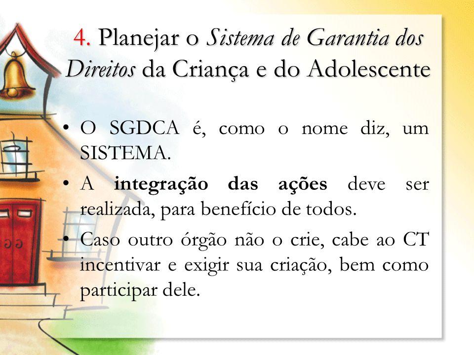 4. Planejar o Sistema de Garantia dos Direitos da Criança e do Adolescente O SGDCA é, como o nome diz, um SISTEMA. A integração das ações deve ser rea