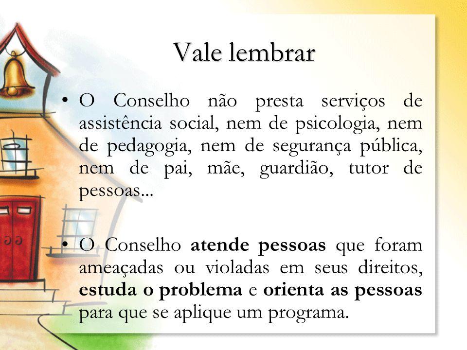 Vale lembrar O Conselho não presta serviços de assistência social, nem de psicologia, nem de pedagogia, nem de segurança pública, nem de pai, mãe, gua