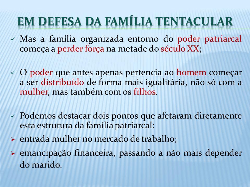 Mas a família organizada entorno do poder patriarcal começa a perder força na metade do século XX; O poder que antes apenas pertencia ao homem começar