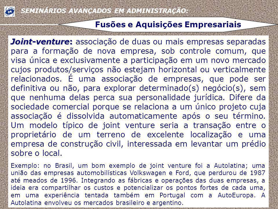 6 SEMINÁRIOS AVANÇADOS EM ADMINISTRAÇÃO: Fusões e Aquisições Empresariais http://www.receita.fazenda.gov.br/PessoaJuridica/DIPJ/2005/PergResp2005/pr212 a231.htm http://www.seae.fazenda.gov.br/central_documentos/glossarios