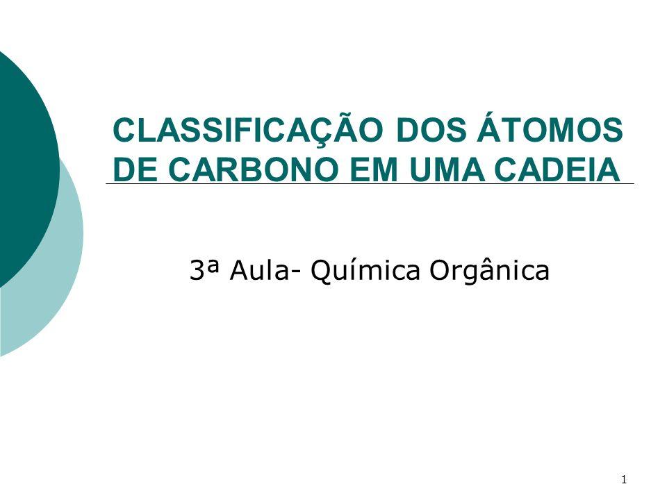 2 1- Classificação dos átomos de carbono em uma cadeia Conforme a posição em que se encontram na cadeia, os átomos de carbono classificam- se em: