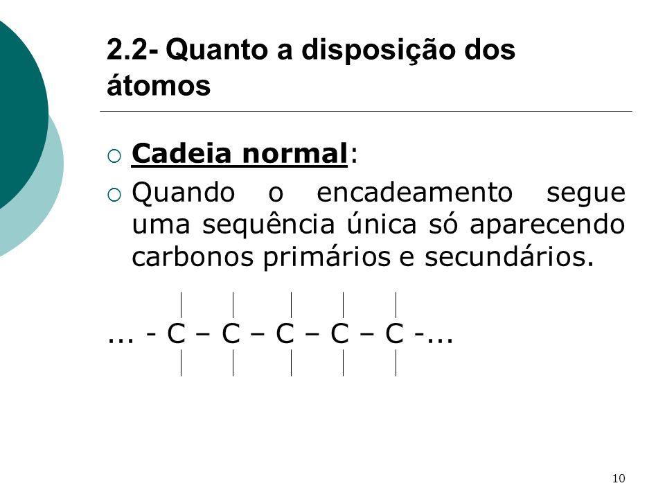 10 2.2- Quanto a disposição dos átomos Cadeia normal: Quando o encadeamento segue uma sequência única só aparecendo carbonos primários e secundários..
