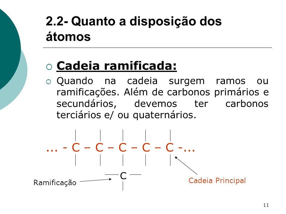 11 Cadeia ramificada: Quando na cadeia surgem ramos ou ramificações. Além de carbonos primários e secundários, devemos ter carbonos terciários e/ ou q