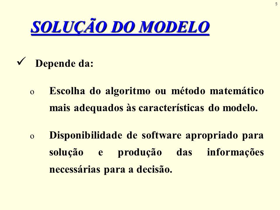 Depende da: o Escolha do algoritmo ou método matemático mais adequados às características do modelo. o Disponibilidade de software apropriado para sol
