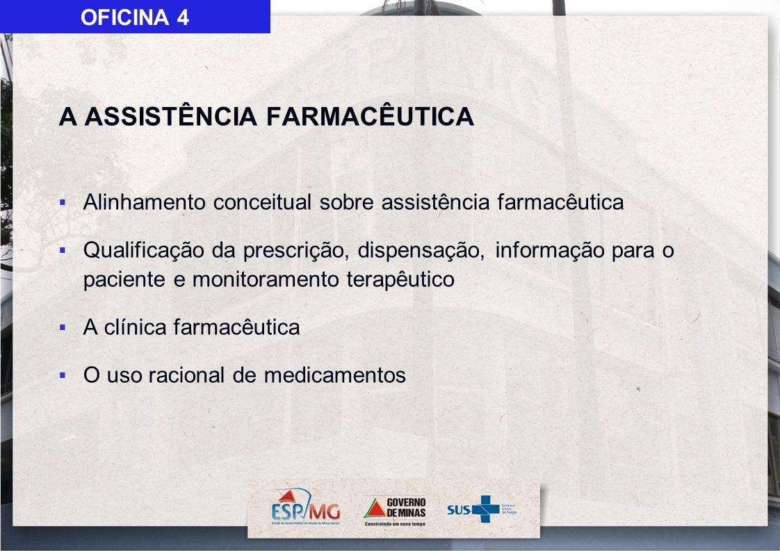 A ASSISTÊNCIA FARMACÊUTICA Alinhamento conceitual sobre assistência farmacêutica Qualificação da prescrição, dispensação, informação para o paciente e