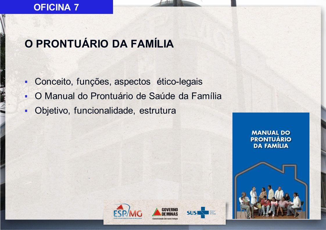 O PRONTUÁRIO DA FAMÍLIA Conceito, funções, aspectos ético-legais O Manual do Prontuário de Saúde da Família Objetivo, funcionalidade, estrutura OFICIN