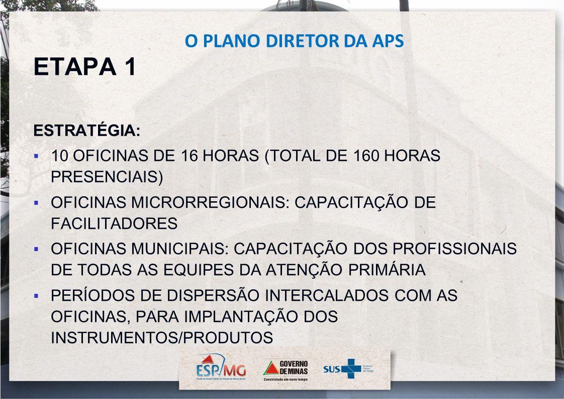 ETAPA 1 ESTRATÉGIA: 10 OFICINAS DE 16 HORAS (TOTAL DE 160 HORAS PRESENCIAIS) OFICINAS MICRORREGIONAIS: CAPACITAÇÃO DE FACILITADORES OFICINAS MUNICIPAI