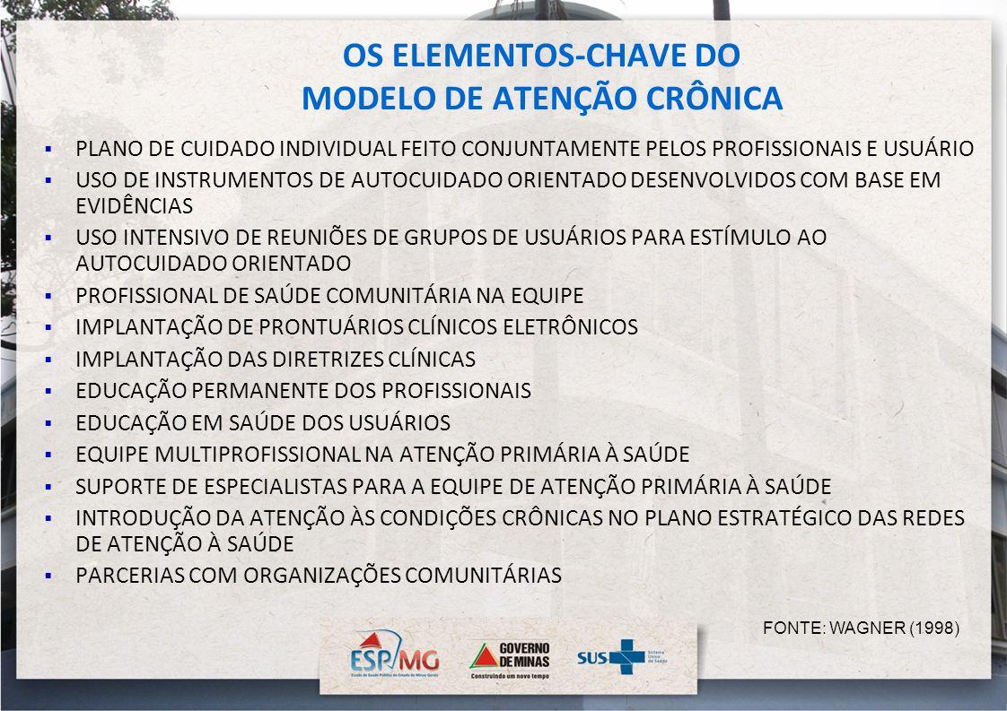 OS ELEMENTOS-CHAVE DO MODELO DE ATENÇÃO CRÔNICA PLANO DE CUIDADO INDIVIDUAL FEITO CONJUNTAMENTE PELOS PROFISSIONAIS E USUÁRIO USO DE INSTRUMENTOS DE A