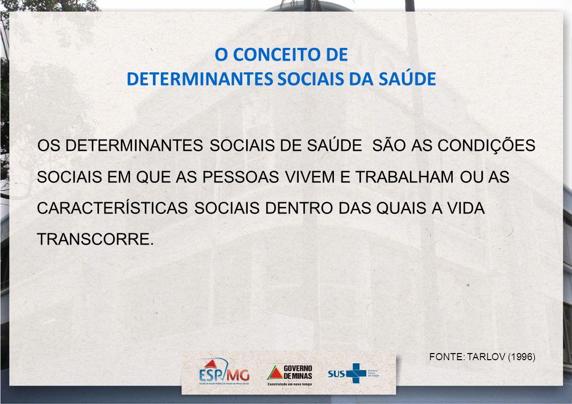 O CONCEITO DE DETERMINANTES SOCIAIS DA SAÚDE OS DETERMINANTES SOCIAIS DE SAÚDE SÃO AS CONDIÇÕES SOCIAIS EM QUE AS PESSOAS VIVEM E TRABALHAM OU AS CARA