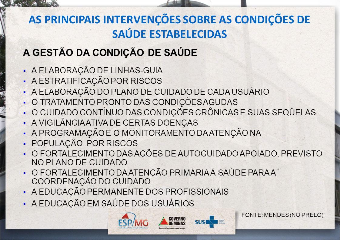 AS PRINCIPAIS INTERVENÇÕES SOBRE AS CONDIÇÕES DE SAÚDE ESTABELECIDAS A GESTÃO DA CONDIÇÃO DE SAÚDE A ELABORAÇÃO DE LINHAS-GUIA A ESTRATIFICAÇÃO POR RI