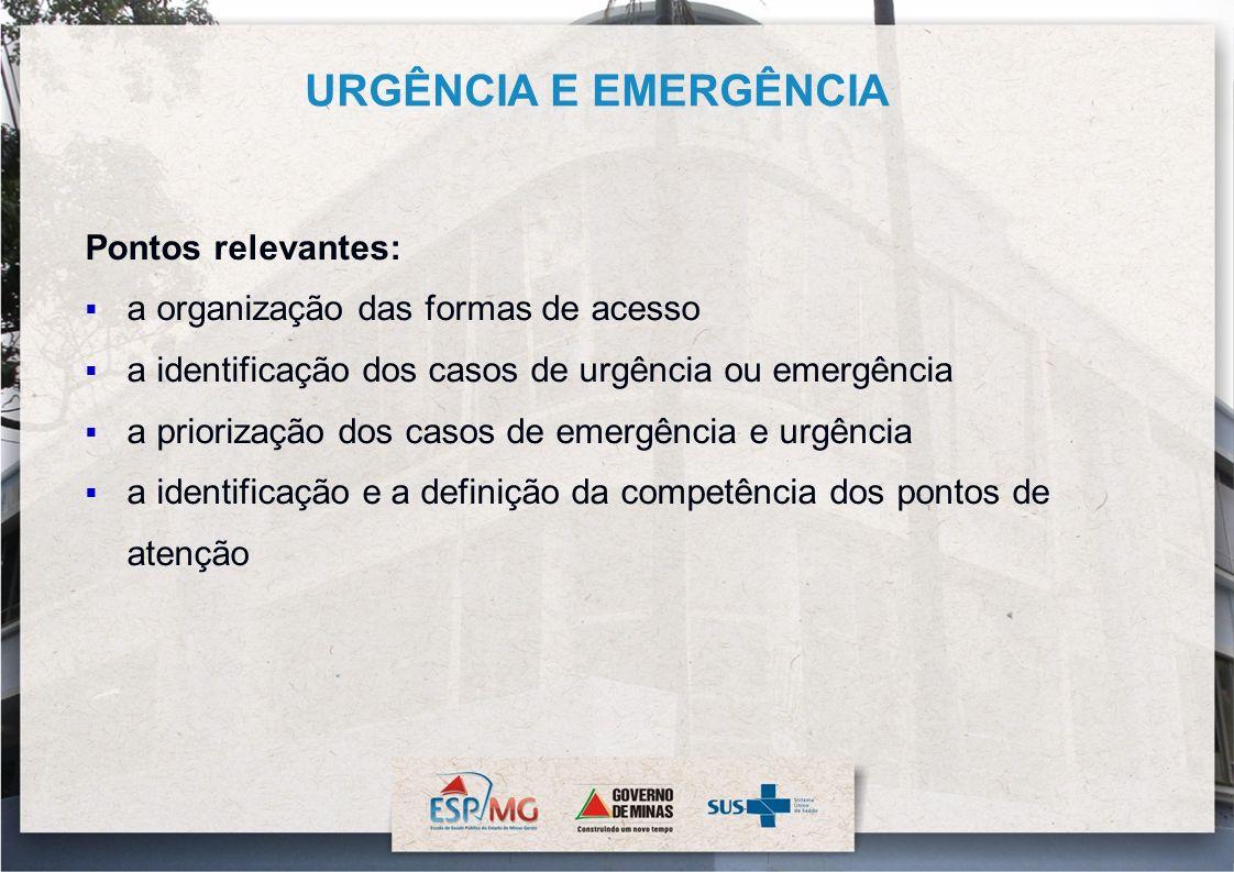 Pontos relevantes: a organização das formas de acesso a identificação dos casos de urgência ou emergência a priorização dos casos de emergência e urgê