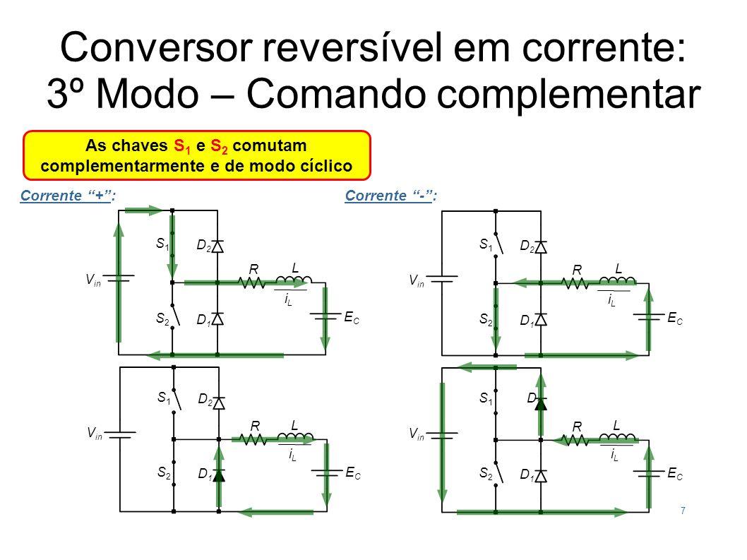 Conversor reversível em corrente: 3º Modo – Comando complementar As chaves S 1 e S 2 comutam complementarmente e de modo cíclico Corrente +: iLiL V in S1S1 L ECEC S2S2 D2D2 D1D1 S1S1 L ECEC S2S2 D2D2 D1D1 iLiL R R 7 Corrente -: iLiL V in S1S1 L ECEC S2S2 D2D2 D1D1 S1S1 L ECEC S2S2 D2D2 D1D1 iLiL R R