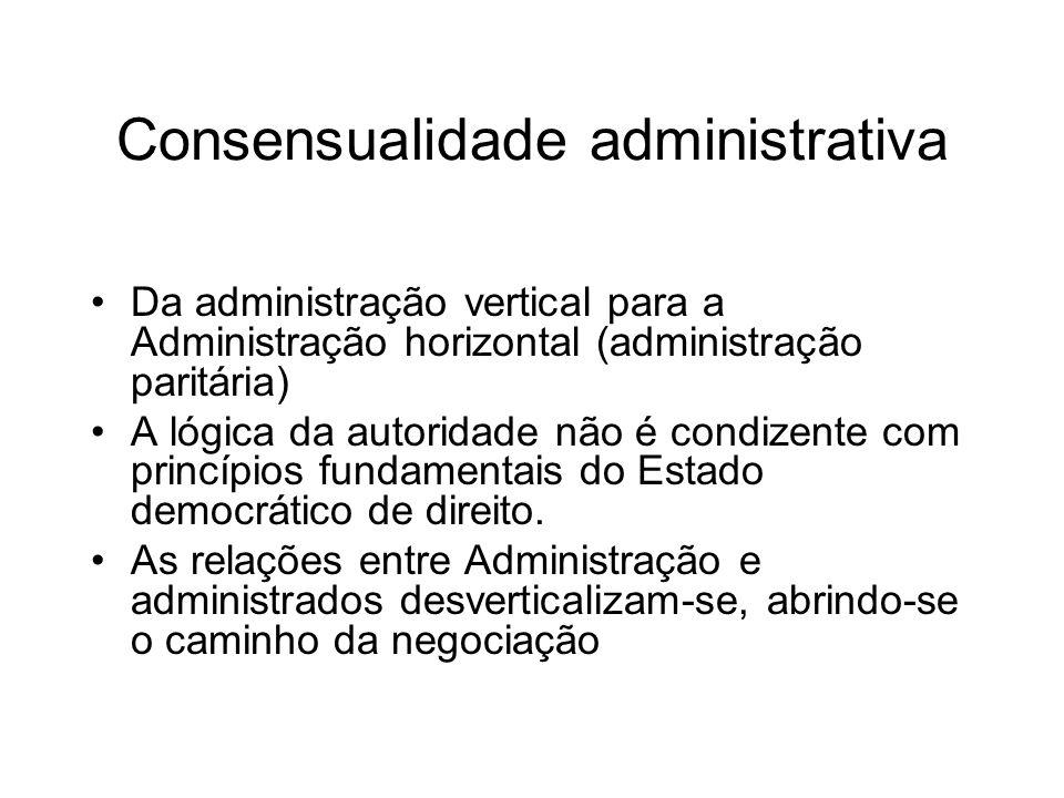 Consensualidade administrativa Da administração vertical para a Administração horizontal (administração paritária) A lógica da autoridade não é condiz