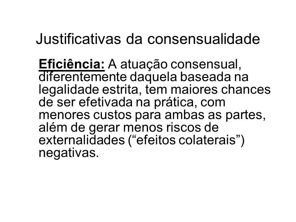 Justificativas da consensualidade II Maior responsividade: o consenso reveste de maior legitimidade a atuação do Poder Público, funcionando como um grande meio de aperfeiçoamento ético nas relações entre os particulares e o Estado.