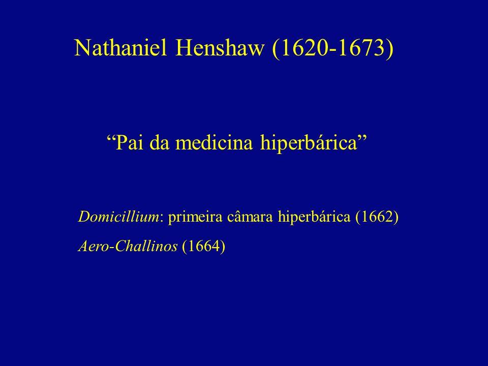 Nathaniel Henshaw (1620-1673) Pai da medicina hiperbárica Domicillium: primeira câmara hiperbárica (1662) Aero-Challinos (1664)
