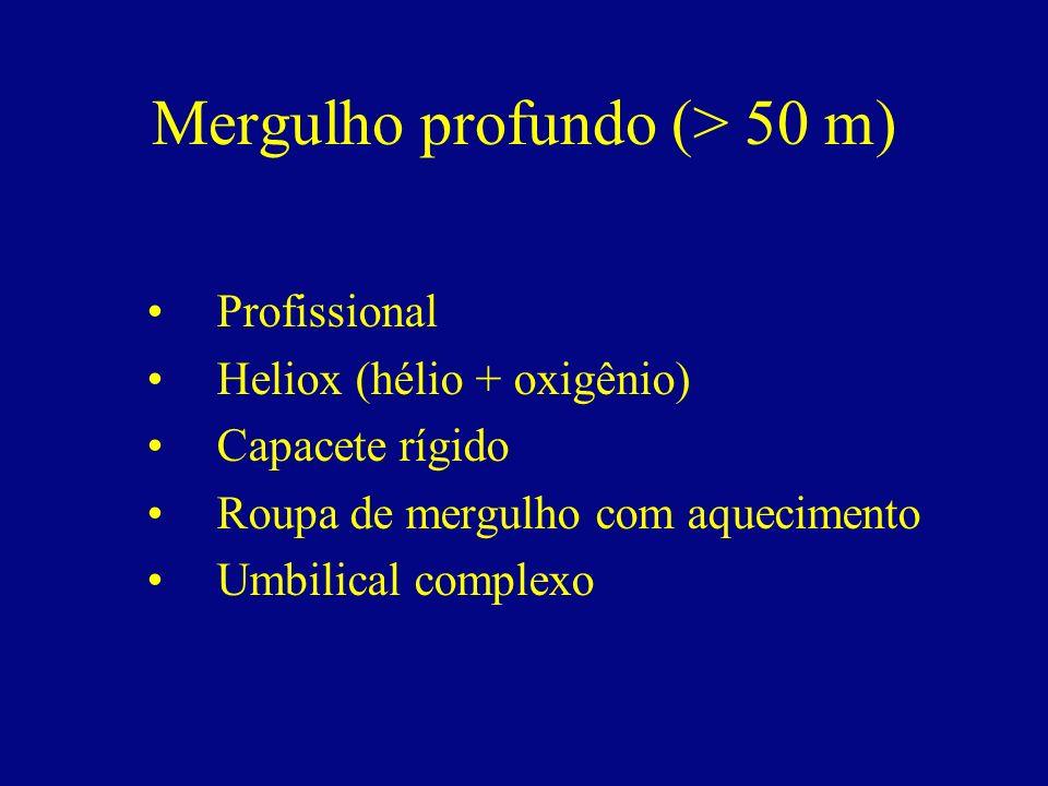 Mergulho profundo (> 50 m) Profissional Heliox (hélio + oxigênio) Capacete rígido Roupa de mergulho com aquecimento Umbilical complexo