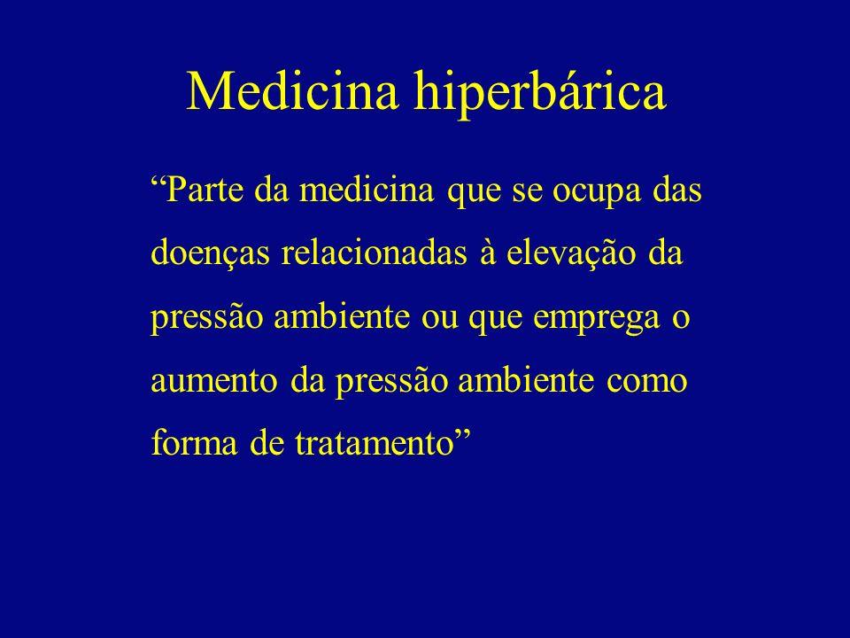 Medicina hiperbárica Parte da medicina que se ocupa das doenças relacionadas à elevação da pressão ambiente ou que emprega o aumento da pressão ambien
