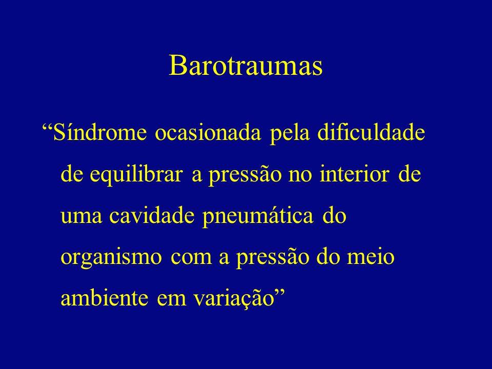 Barotraumas Síndrome ocasionada pela dificuldade de equilibrar a pressão no interior de uma cavidade pneumática do organismo com a pressão do meio amb