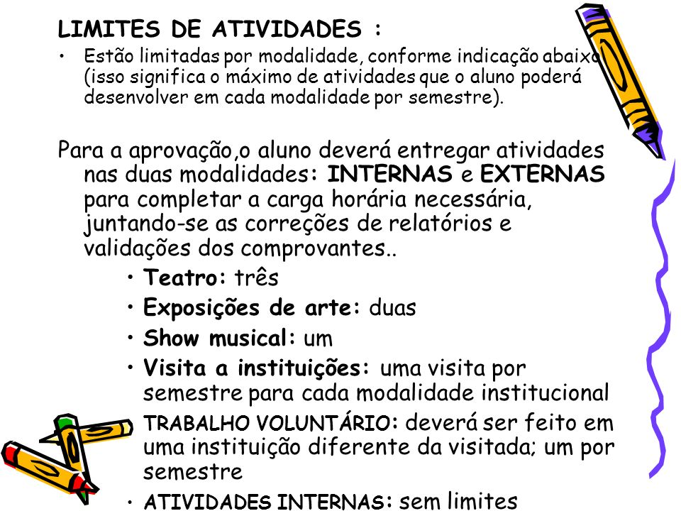 LIMITES DE ATIVIDADES : Estão limitadas por modalidade, conforme indicação abaixo (isso significa o máximo de atividades que o aluno poderá desenvolve