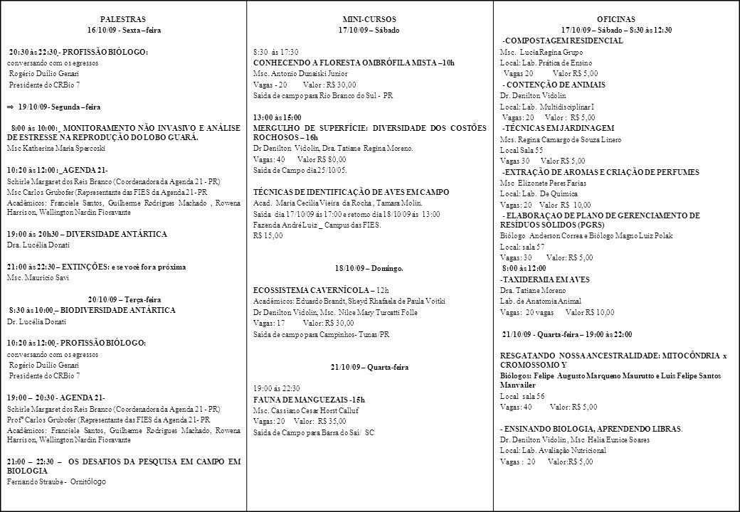 PALESTRAS 16/10/09 - Sexta –feira 20:30 às 22:30 - PROFISSÃO BIÓLOGO: conversando com os egressos Rogério Duílio Genari Presidente do CRBio 7 19/10/09