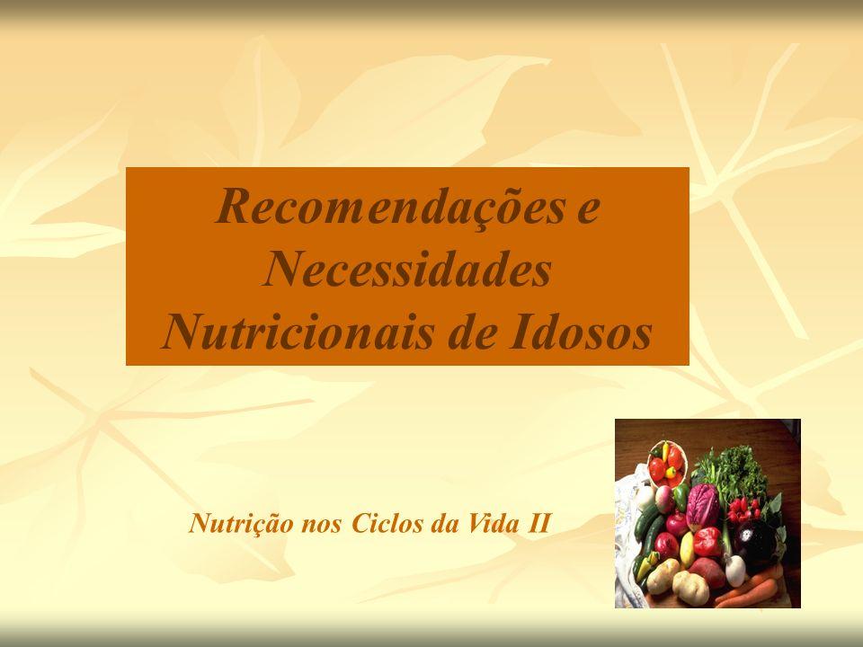 Fontes: Só de origem animal carnes (vermelha e branca), vísceras, leite e derivados, ovos Suplementação pode ser indicada ( ingestão / vegetarianos; doenças / medicamentos) Vitamina B 12 Recomendações Nutricionais Vitaminas ingestão de B 12 por idosos Deficiência: quadro demencial Deficiência: níveis de homocisteína (risco CV, DA?) DRI (2002): Homens e mulheres > 50 anos 2,4 g / dia