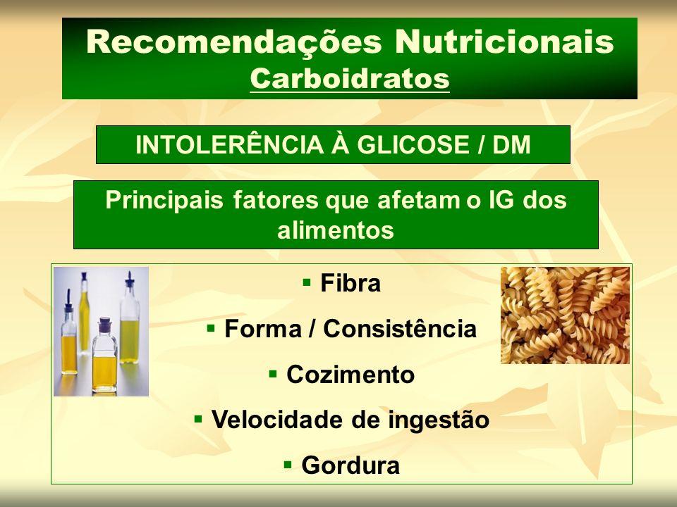 Fibra Forma / Consistência Cozimento Velocidade de ingestão Gordura Recomendações Nutricionais Carboidratos Principais fatores que afetam o IG dos ali