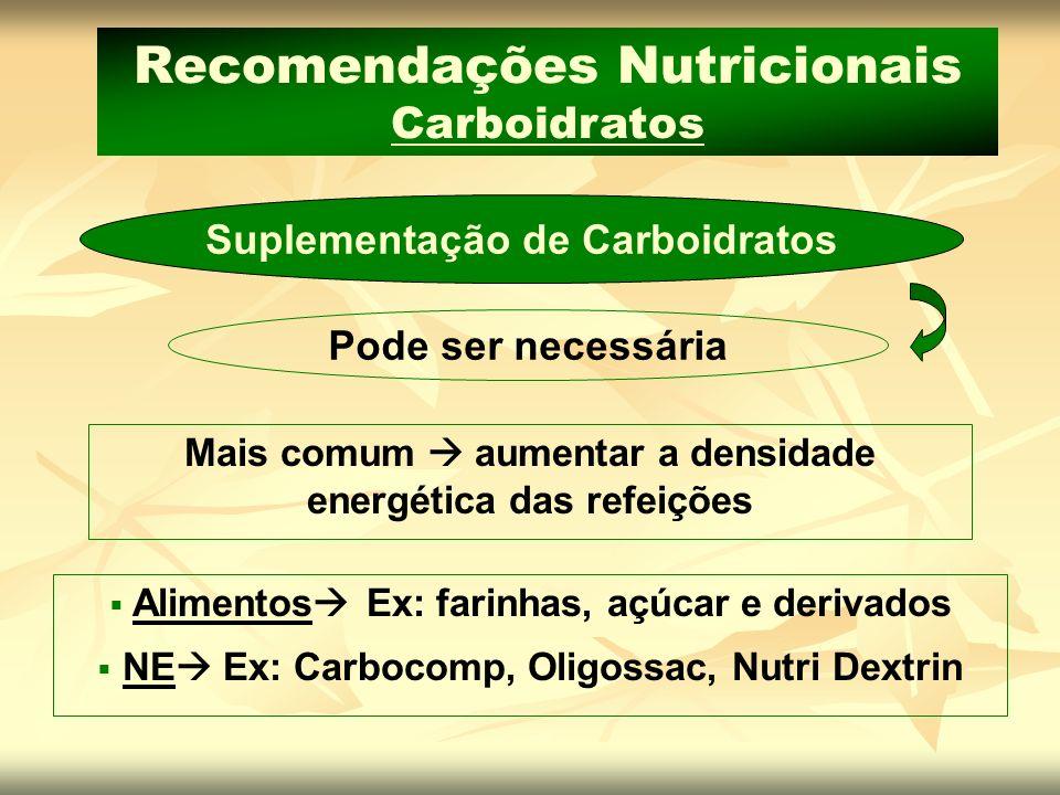 Recomendações Nutricionais Carboidratos Suplementação de Carboidratos Mais comum aumentar a densidade energética das refeições Pode ser necessária Ali