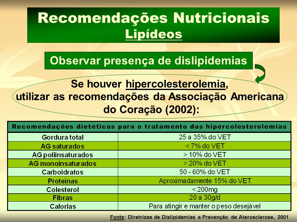 Observar presença de dislipidemias Se houver hipercolesterolemia, utilizar as recomendações da Associação Americana do Coração (2002): Recomendações N