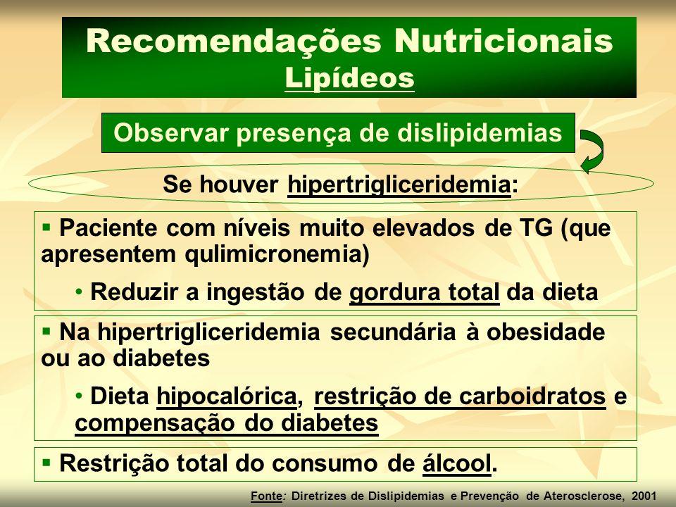 Observar presença de dislipidemias Se houver hipertrigliceridemia: Recomendações Nutricionais Lipídeos Paciente com níveis muito elevados de TG (que a
