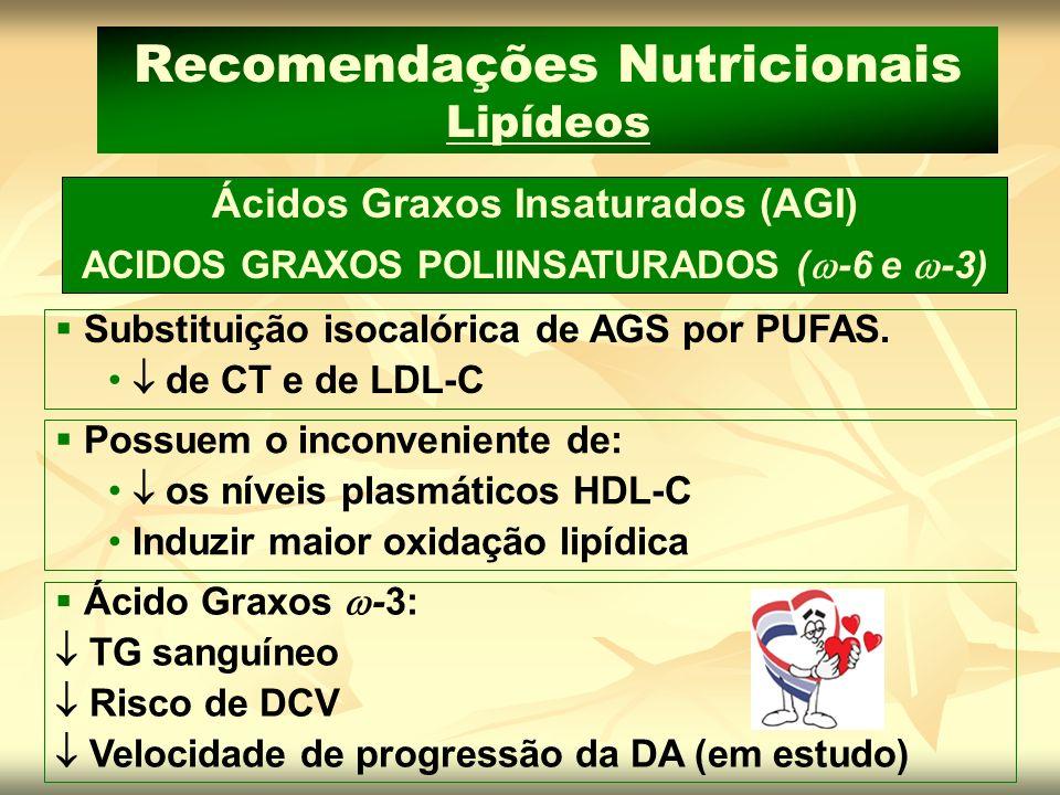 Ácidos Graxos Insaturados (AGI) ACIDOS GRAXOS POLIINSATURADOS ( -6 e -3) Recomendações Nutricionais Lipídeos Substituição isocalórica de AGS por PUFAS