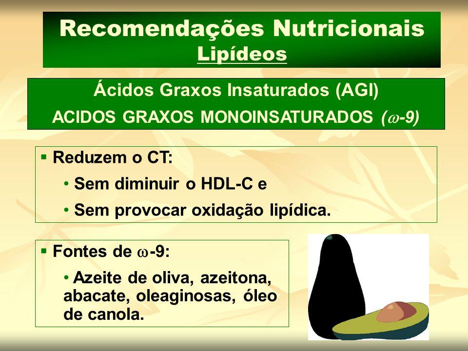 Ácidos Graxos Insaturados (AGI) ACIDOS GRAXOS MONOINSATURADOS ( -9) Recomendações Nutricionais Lipídeos Reduzem o CT: Sem diminuir o HDL-C e Sem provo