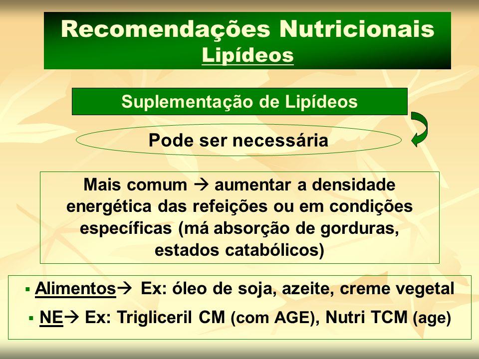 Suplementação de Lipídeos Recomendações Nutricionais Lipídeos Mais comum aumentar a densidade energética das refeições ou em condições específicas (má