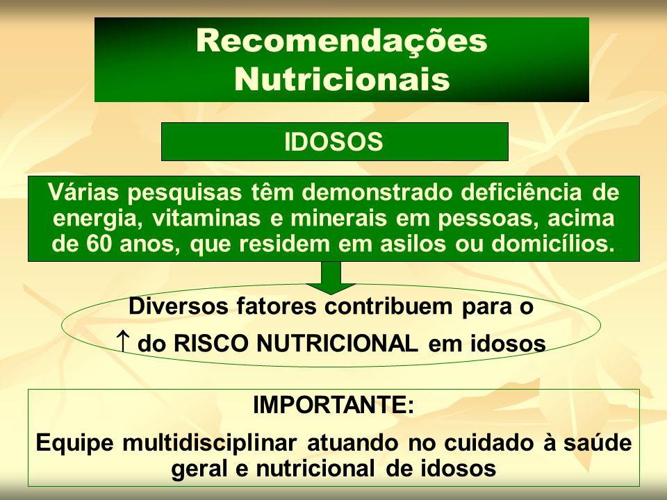 IDOSOS Recomendações Nutricionais Várias pesquisas têm demonstrado deficiência de energia, vitaminas e minerais em pessoas, acima de 60 anos, que resi