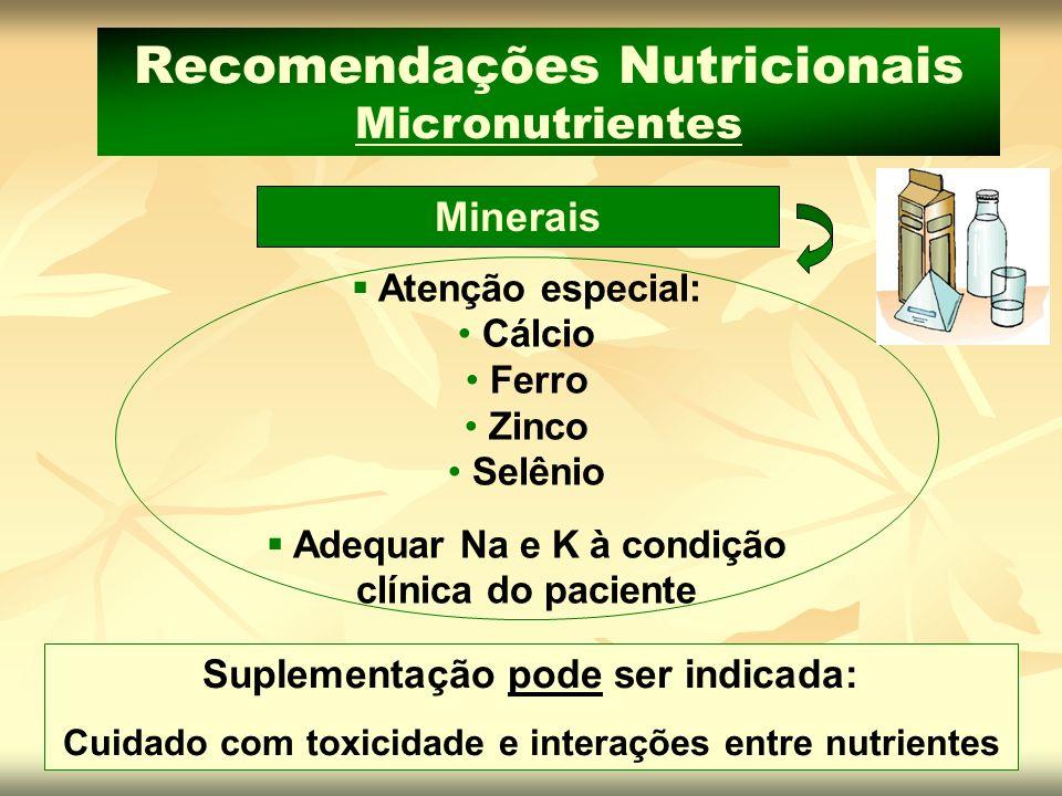 Suplementação pode ser indicada: Cuidado com toxicidade e interações entre nutrientes Minerais Recomendações Nutricionais Micronutrientes Atenção espe