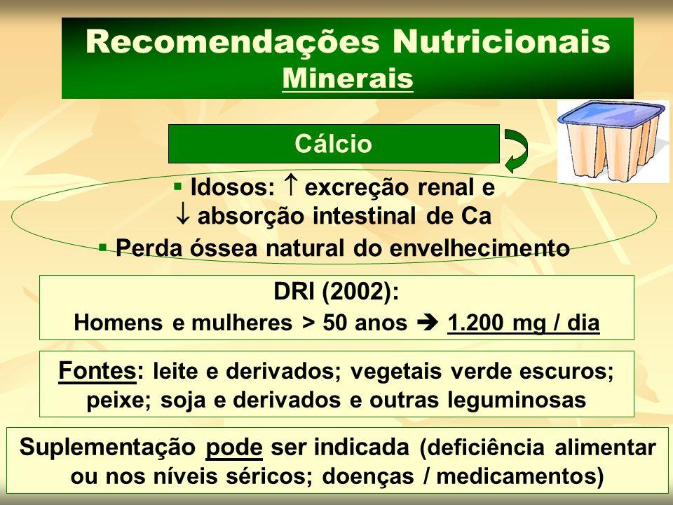 DRI (2002): Homens e mulheres > 50 anos 1.200 mg / dia Cálcio Recomendações Nutricionais Minerais Idosos: excreção renal e absorção intestinal de Ca P