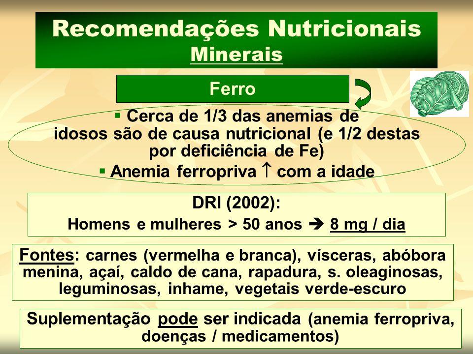 Suplementação pode ser indicada (anemia ferropriva, doenças / medicamentos) Fontes: carnes (vermelha e branca), vísceras, abóbora menina, açaí, caldo