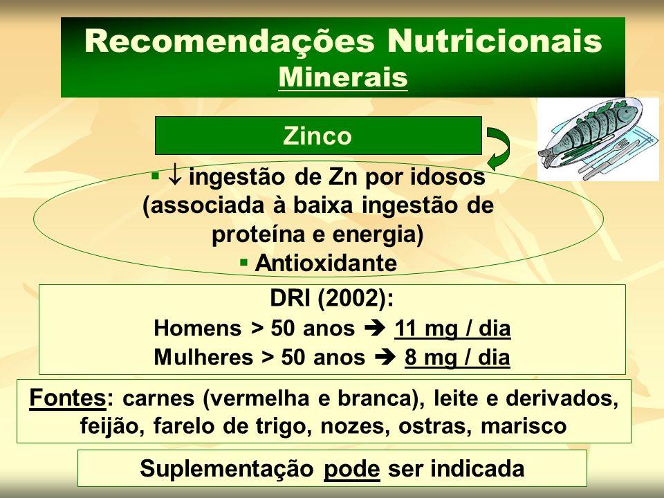 Suplementação pode ser indicada Fontes: carnes (vermelha e branca), leite e derivados, feijão, farelo de trigo, nozes, ostras, marisco Zinco Recomenda