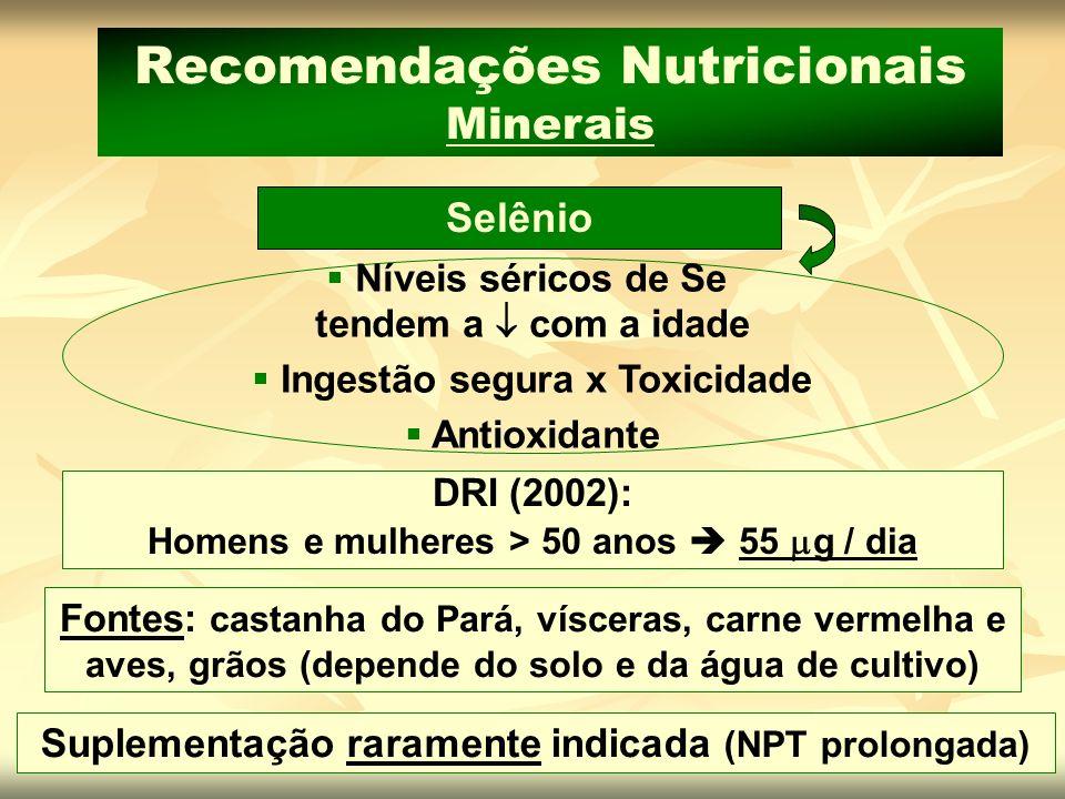 Suplementação raramente indicada (NPT prolongada) Fontes: castanha do Pará, vísceras, carne vermelha e aves, grãos (depende do solo e da água de culti